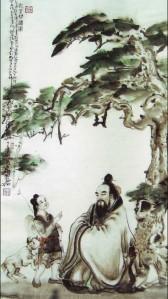 Confúcio e Xiang Tuo Gravura em nanquim